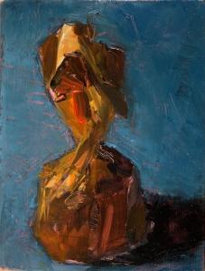 bonbon bleu 6 x 3,5 x 1,5 cm. oil painting on matchbox